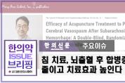 [한의약 이슈 브리핑] 침 치료, 뇌출혈 후 합병증 줄이고 치료효과 높인다